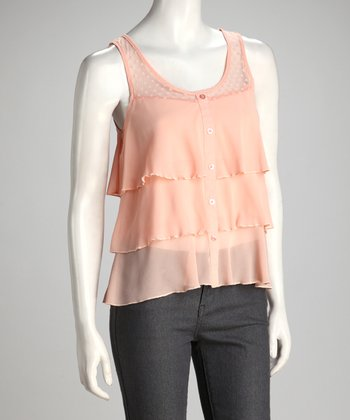 Peach Sheer Tiered Ruffle Tank