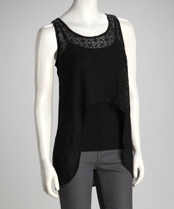 Black Sheer Embroidered Exaggerated Hi-Low Tank