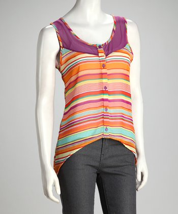 Orange & Purple Stripe Chiffon Hi-Low Button-Up Top