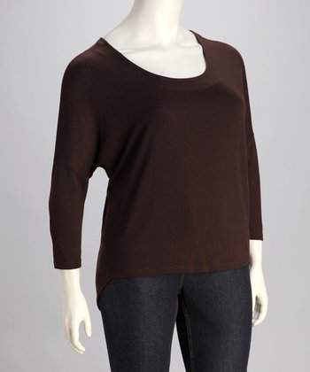 Brown Scoop Neck Sweater - Plus