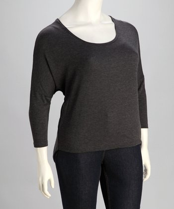 Charcoal Scoop Neck Sweater - Plus