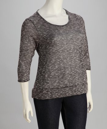 Black Split-Back Scoop Neck Sweater - Plus