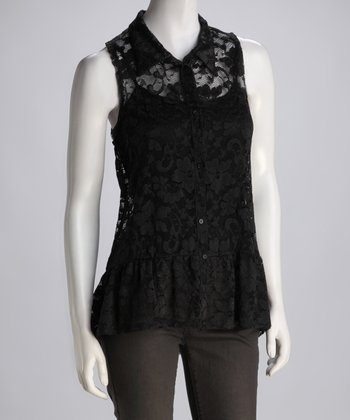 Black Lace Ruffle Sleeveless Top