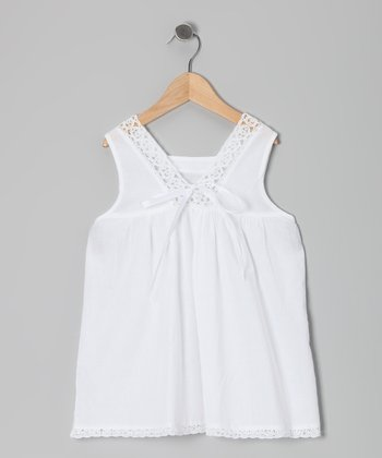 White Crochet Shift Dress - Toddler & Girls