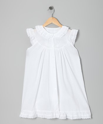 White Collar Angel-Sleeve Dress - Girls
