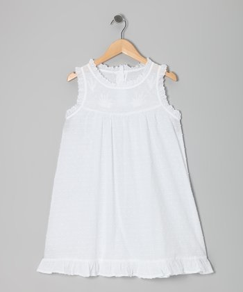 White Pin Dot Ruffle-Hem Dress - Girls