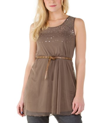 Bronze Sequin Sleeveless Top - Women