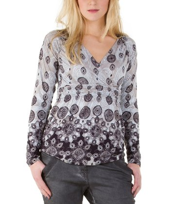 Dark Gray Surplice Top