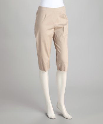 Tan Stretch Capri Pants