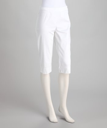 White Stretch Capri Pants