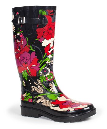 Black Flower Bower Rain Boot