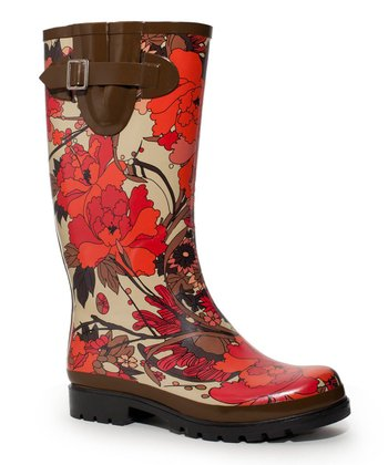 Scarlet Flower Power Rain Boot