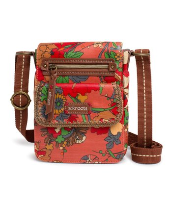 Orange Flower Power Zippered Crossbody Bag