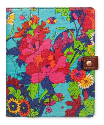 Aqua Flower Power Folio for iPad