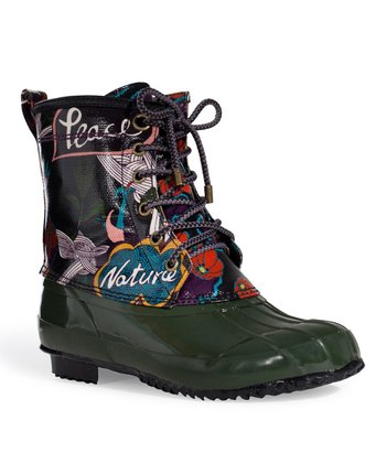 Black & Olive Peace Duck Boot