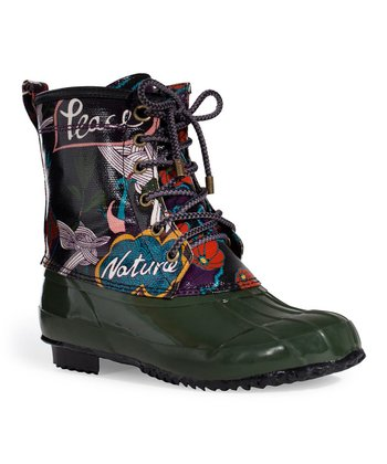 Black Peace Duck Boot