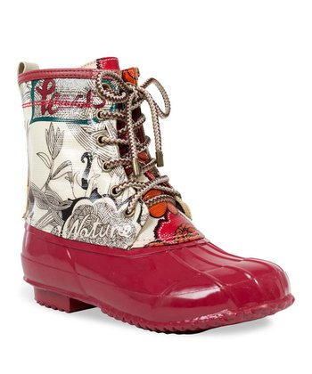 Natural & Red Peace Duck Boot
