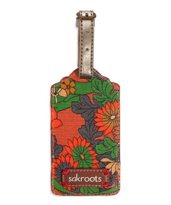 Orange Flower Power Luggage Tag