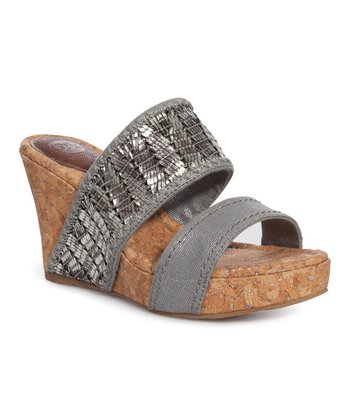 Metallic Silver Star Wedge