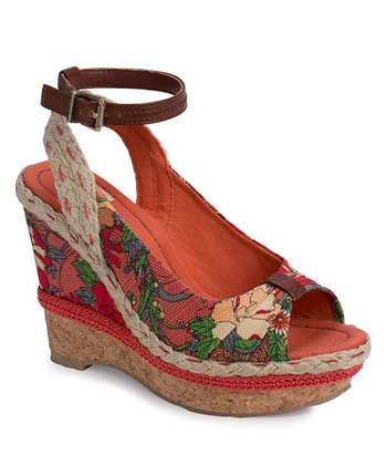 Orange Flower Power Morgan Peep-Toe Wedge
