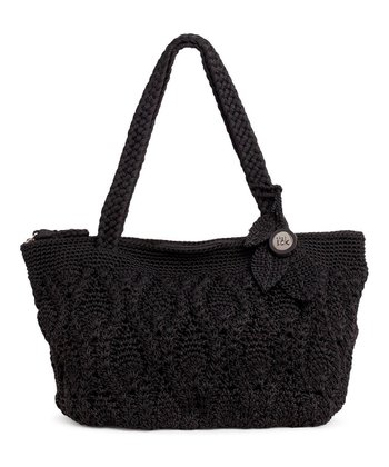 Black Crocheted Shoulder Bag