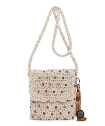 Natural Beads Flap Over Crossbody Bag
