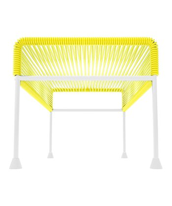 Yellow & White Adam Ottoman
