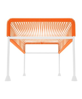 Orange & White Adam Ottoman