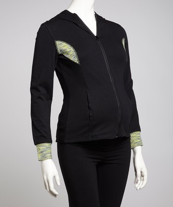 Black & Lemon Hooded Maternity Track Jacket