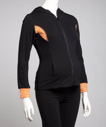 Black & Orange Hooded Maternity Track Jacket