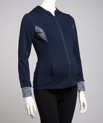 New Navy & Gray Hooded Maternity Track Jacket