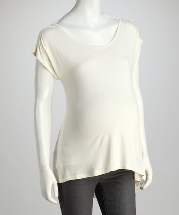 Cream Maternity Short-Sleeve Top