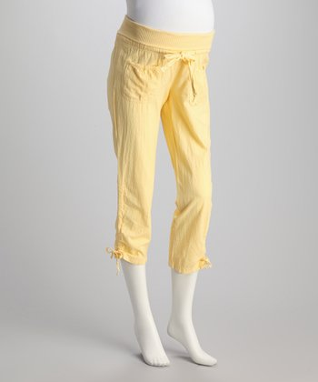 Mellow Yellow Tie Maternity Capri Pants