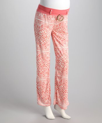 Dusty Coral Abstract Maternity Pants - Women