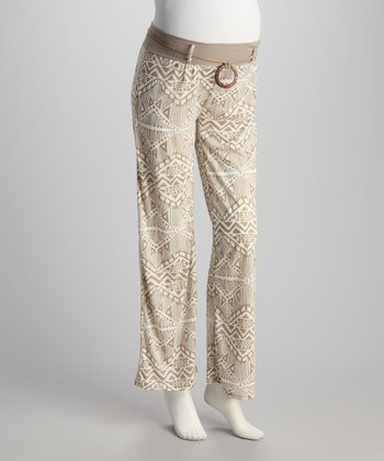 Toffee Abstract Maternity Pants - Women