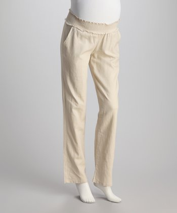 Light Khaki Linen-Blend Maternity Pants