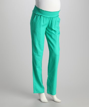 Spearmint Linen-Blend Maternity Pants