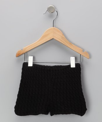 Black Cable-Knit Shorts - Women