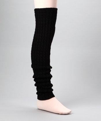Black Cable-Knit Leg Warmers