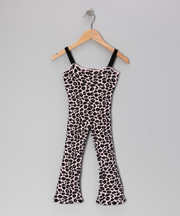 Pink & Black Wild Child Cheetah Jumpsuit - Girls