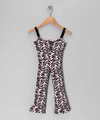 Pink & Black Wild Child Tiger Jumpsuit - Girls