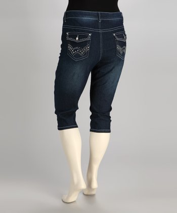 Blue Rhinestone Flap-Pocket Plus-Size Capri Jeans