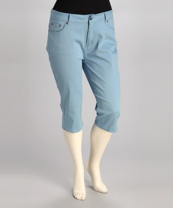 Light Blue Plus-Size Capri Jeans
