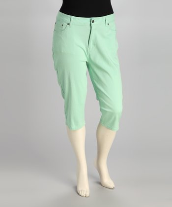 Mint Plus-Size Capri Jeans