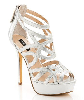 Silver Leather Crisscross Emery Pump