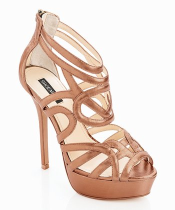 Bronze Leather Crisscross Emery Pump