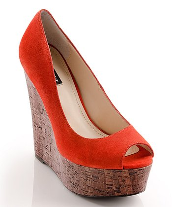 Tomato Suede Courtney Peep-Toe Wedge