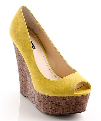 Citron Suede Courtney Peep-Toe Wedge