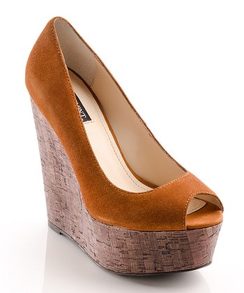 Chestnut Suede Courtney Peep-Toe Wedge