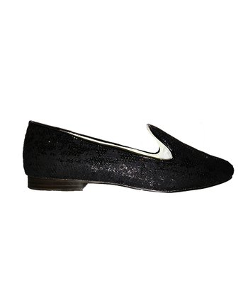 Black Sequin Classica Leather Loafer